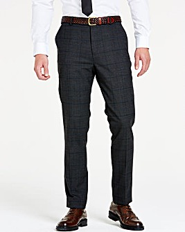 Charcoal Wool Checked Slim Trousers Short 29 inch