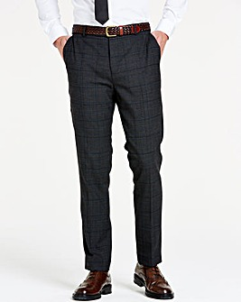 Charcoal Wool Checked Slim Trousers R