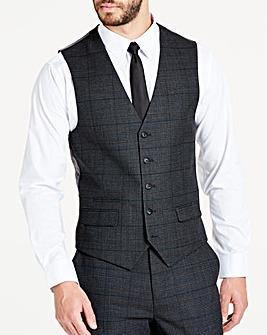 Charcoal Wool Checked Slim Waistcoat