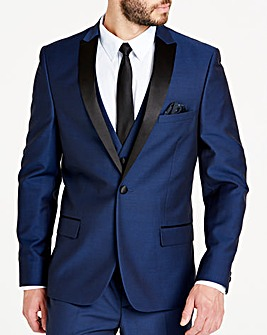 Navy Slim Textured Dinner Jacket L