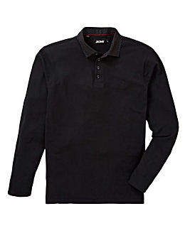 Black L/S Stretch Pique Trim Polo Long
