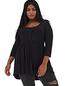 3/4 Sleeve Button Down Smock Tunic