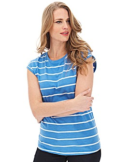 Blue Stripe Turn Cuff T-Shirt
