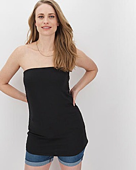Black Ruched Bandeau Top