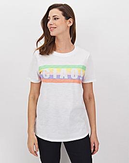 White Cotton Slub Placement T-Shirt