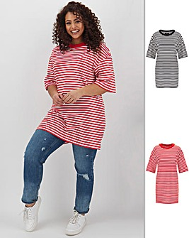 2 Pack Black/Red Stripe Tunics