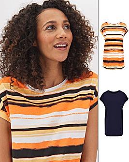 2 Pack Stripe/Navy Boyfriend T-Shirts