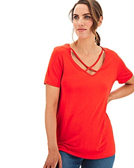Deep Plunge Neck T-Shirt With Cross Over