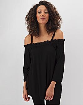 3/4 Sleeve Crochet Hem Cold Shoulder Top