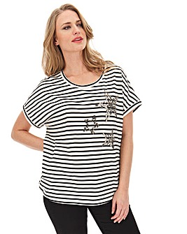 Ivory Stripe Sequin Star T-Shirt