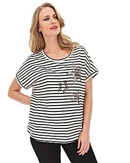 Ivory Stripe Sequin Star T-Shirt