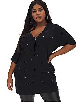 Black Zip Front Diamante Tunic