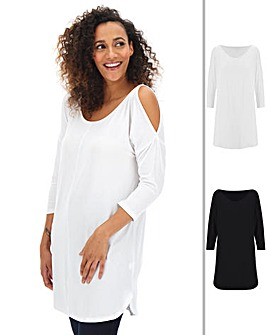 2 Pack Cold Shoulder Tunics