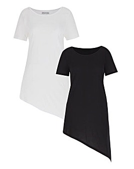 Pack 2 Short Sleeve Asymmetric Top