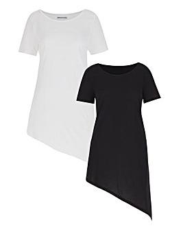 Pack 2 Short Sleeve Asymmetric Top