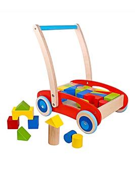 Wooden Baby Walker with Blocks Trolley