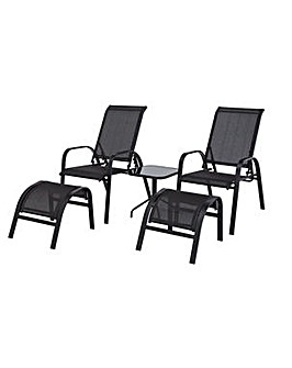 Sicily Conversation Set with Footrests