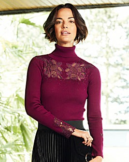 Lace Detail Roll Neck Jumper