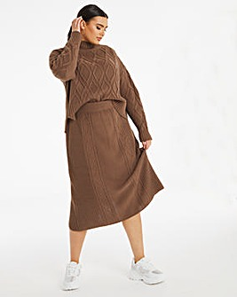 Chocolate Co Ord Cable Skirt