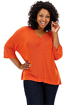 Deep Orange Linen Mix Batwing Jumper