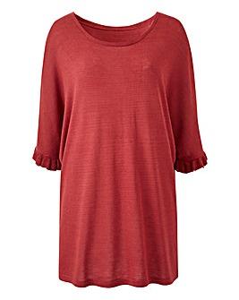 Henna Ruffle Boxy Linen Mix T-Shirt