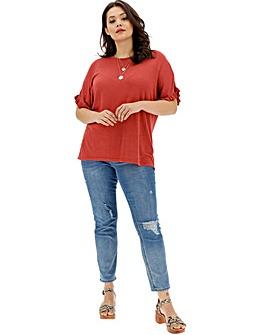 Henna Ruffle Boxy Linen Mix Knit T-Shirt