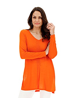 Deep Orange Linen Mix V Neck Side Split Tunic