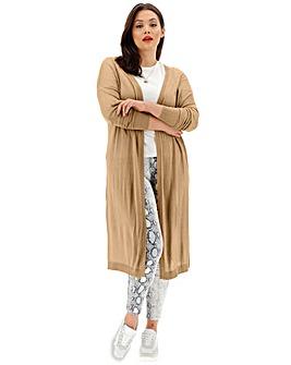 Soft Sand Linen Mix Longline Cardigan