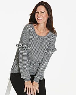 Frill Sleeve Metallic Stripe Jumper