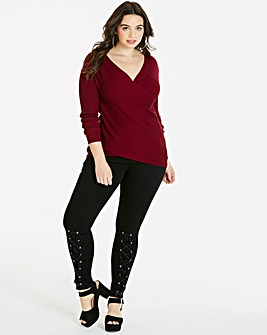 Ribbed Wrap Front Jumper