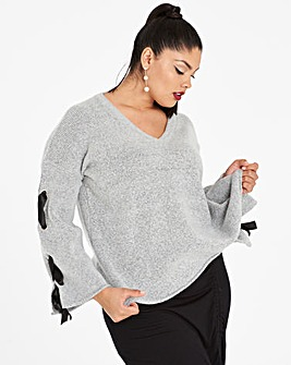 Lace Up Detail V Neck Jumper
