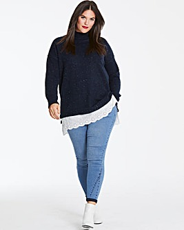 Navy Broderie Anglaise Jumper