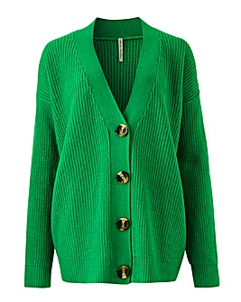 Green Boxy Cardigan
