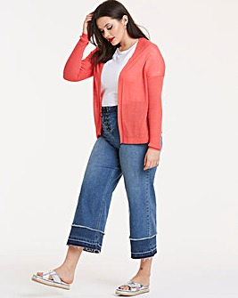 Hot Coral Linen Mix Rib Detail Cardigan