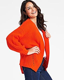 Deep Orange Pointelle Cardigan