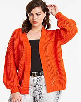 Deep Orange Pointelle Cardigan