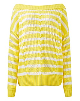 Lemon/White Slash Neck Jumper