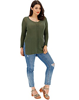 Khaki Linen Mix V Neck Side Split Tunic