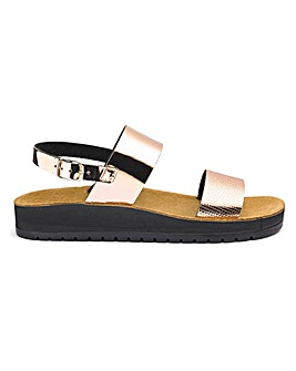 Scholl Cinthia Double Sling Back Sandals Wide E Fit