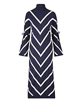 Petite Roll Neck Chevron Dress
