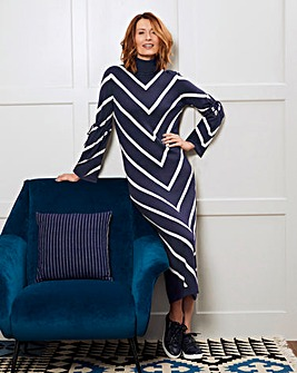Roll Neck Chevron Dress