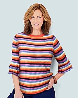 Ruffle Sleeve Stripe Knit