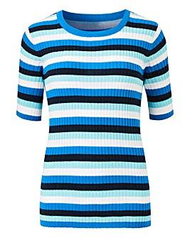 Blue Stripe Short Sleeve Jumper