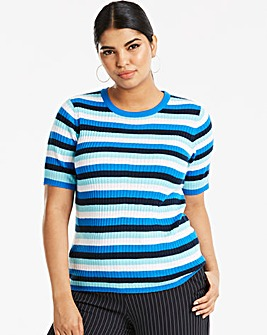 Blue Stripe Short Sleeve Jumper