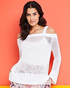 Cold Shoulder Flared Sleeve Jumper