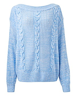 Sky Blue Slash Neck Jumper