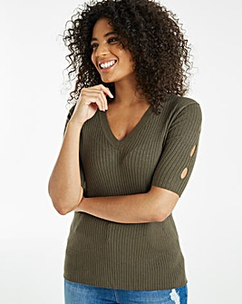 Cut Out Sleeve Rib V-Neck