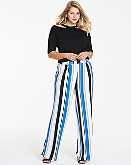 Stripe Wide Leg Jersey Trousers Reg