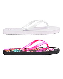 Kathy Tropical Two Pack Flip Flops Wide