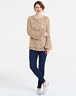 Open Knit Pearl Detail Jumper
